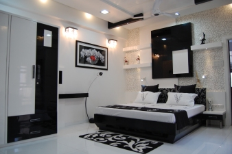 A modern bedroom using Black and white theme-view 1