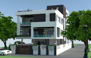 Front view of a bungalow at Janaki Nagar Extension Indore